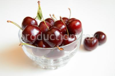 Cherries in a Transparent Bowl